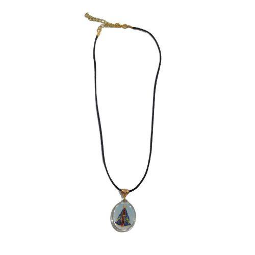Cordão Preto com Medalha Acrílica de Nossa Senhora Aparecida - O Pacote com 6 peças - Cód.: 8521