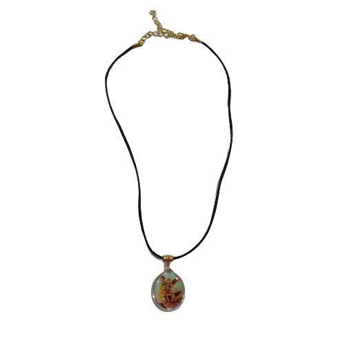 Cordão Preto com Medalha Acrílica de São Miguel Arcanjo - O Pacote com 6 peças - Cód.: 8521