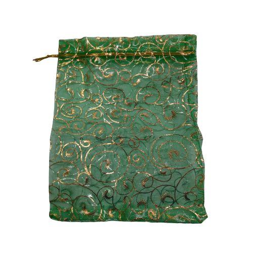 Saquinho de Organza na Cor Verde com Desenho Dourado - A Dúzia - Cód.: 494