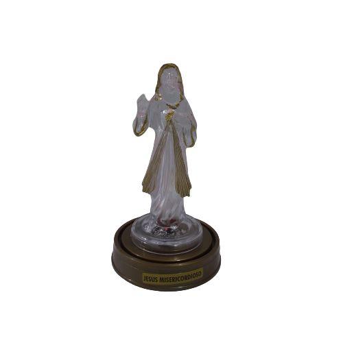 Imagem Jesus Misericordioso Plástico Transparente com LED e Base Cor Ouro Velho - A Unidade - Ref.: 8573