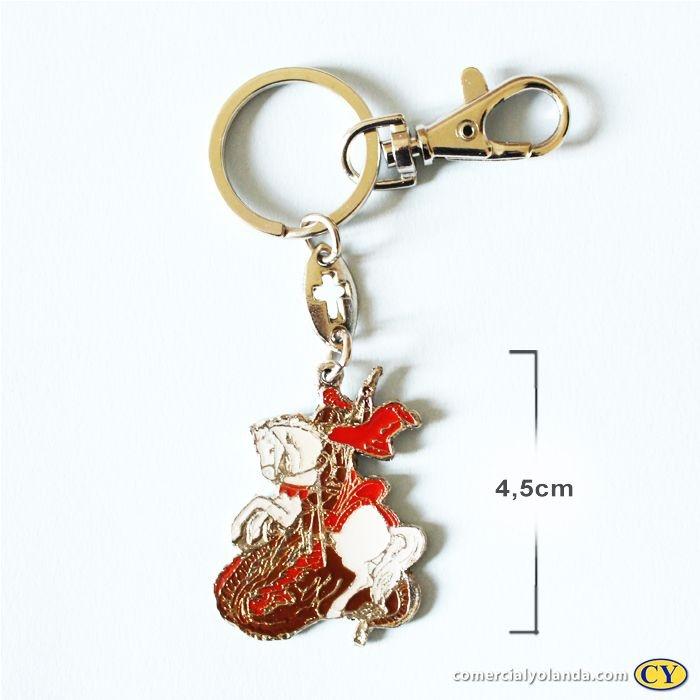 Chaveiro São Jorge em metal com mosquetão - Pacote com 3 peças - Cód. 3104