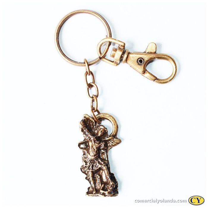 Chaveiro de São Miguel estátua em metal, cor ouro velho, com mosquetão - Pacote com 3 peças - Cód.: 2448