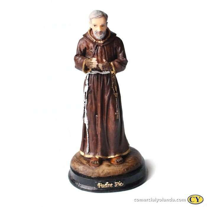 Imagem Padre Pio M em resina  - Pacote com 3 Unidades - Cód.: 8647