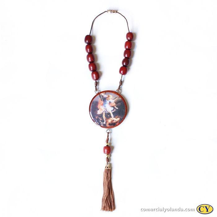 Medalhão para carro, em madeira resinada com fecho - São Miguel Arcanjo - O pacote com 3 peças - Cód.: 0721