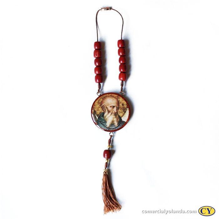 Medalhão para carro, em madeira resinada com fecho - São Bento - O pacote com 3 peças - Cód.: 0721