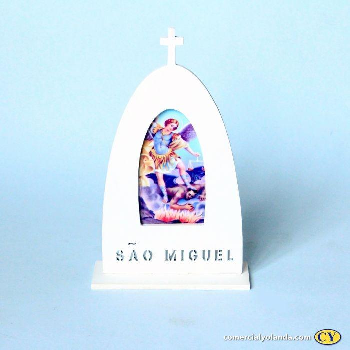 Plaquinha de madeira com suporte - São Miguel - O Pacote com 3 unidades - Cód.: 9658