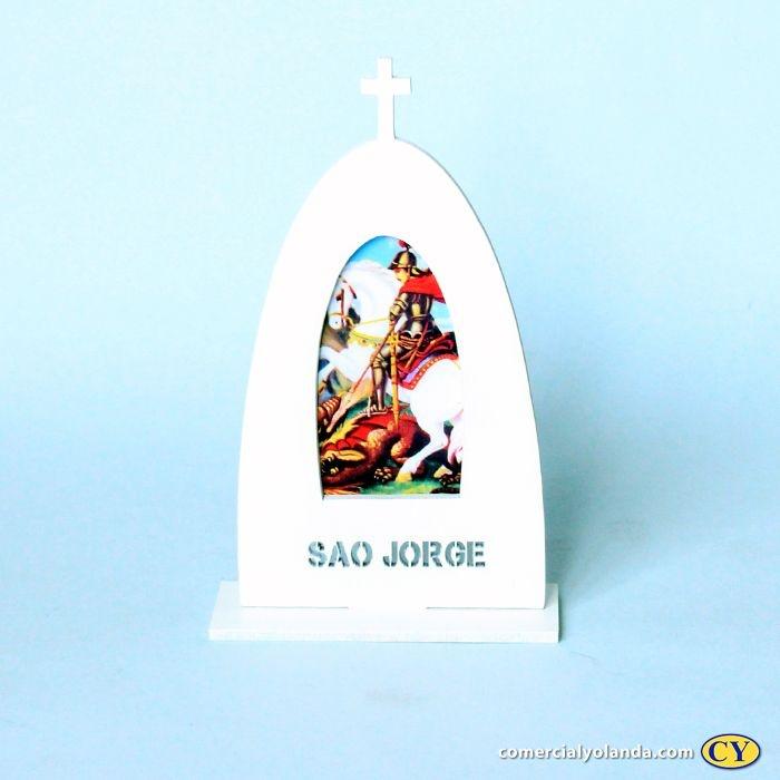 Plaquinha de madeira com suporte - São Jorge - O Pacote com 3 unidades - Cód.: 9658