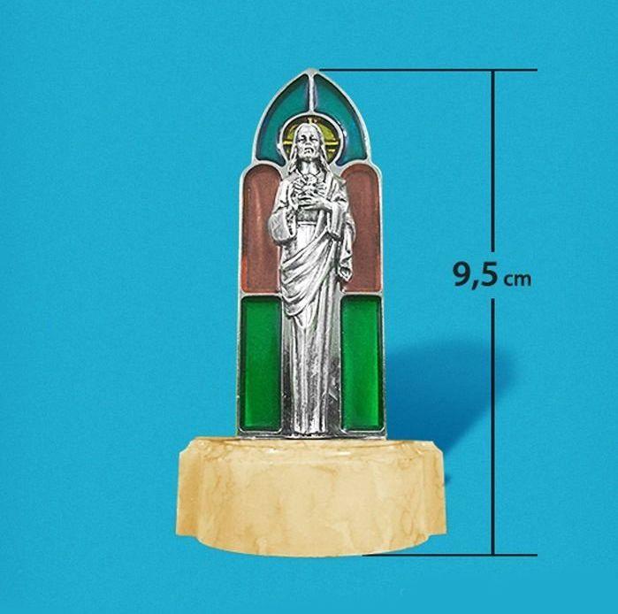 Pia para água benta pequena - Sagrado Coração de Jesus - Vitral - A Unidade - Cód.: 8059
