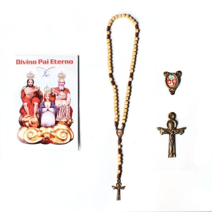 Terço com folheto de oração, Divino Pai Eterno - Bege - A Dúzia - Cód.: 2024