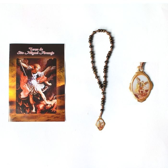 Terço com folheto de oração, São Miguel Arcanjo - Marrom - A Dúzia - Cód.: 1861