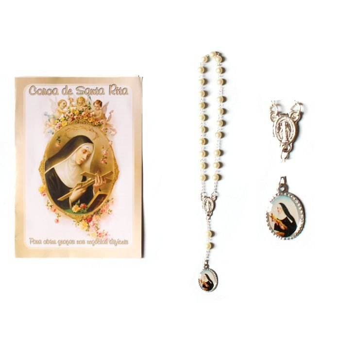Terço com folheto de oração, Coroa de Santa Rita - Pacote com 6 peças - Cód.: 2193