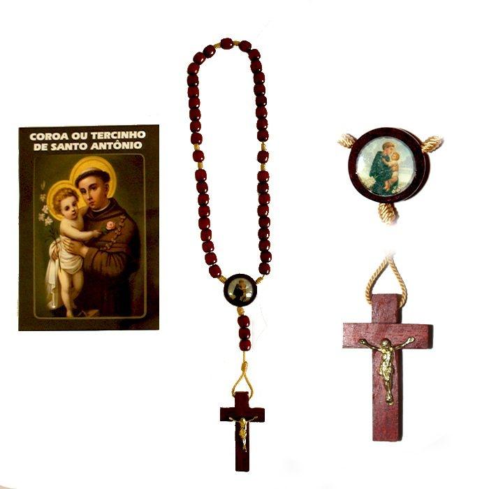 Terço com folheto de oração, Santo Antônio - O Pacote com 6 Peças - Cód.: 0893