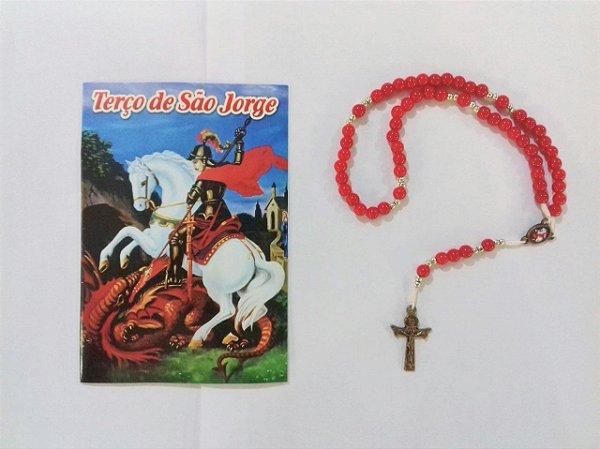 Terço com folheto de oração, São Jorge - Cor fosca - O Pacote com 6 Peças - Cód.: 4522