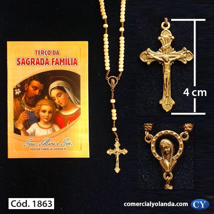 Terço com folheto de oração, Sagrada Família Bege - A Dúzia - Cód.: 1863