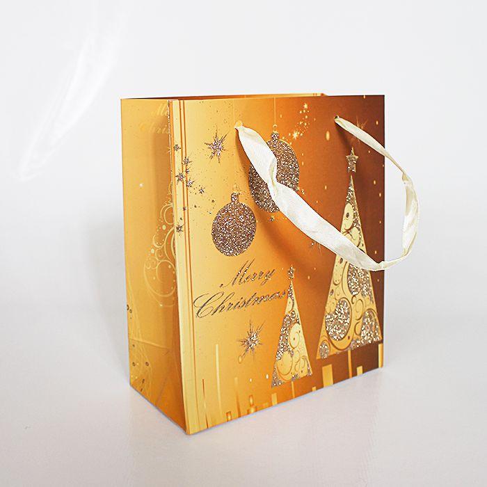 Sacola de Natal Dourada - Pacote com 12 unidades - EM21P