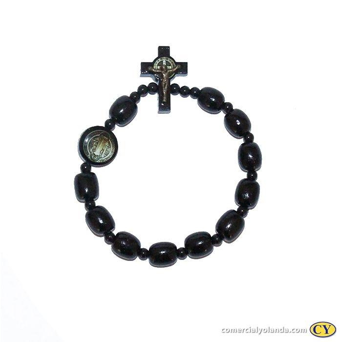 Pulseira São Bento em madeira, com medalha resinada e crucifixo com cristo - A Dúzia - Cód.: 6128