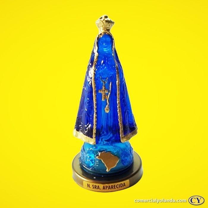 Imagem de Nossa Senhora Aparecida plástico azul transparente - Base cor ouro velho - O Pacote com 3 peças - Ref.: IBAP66