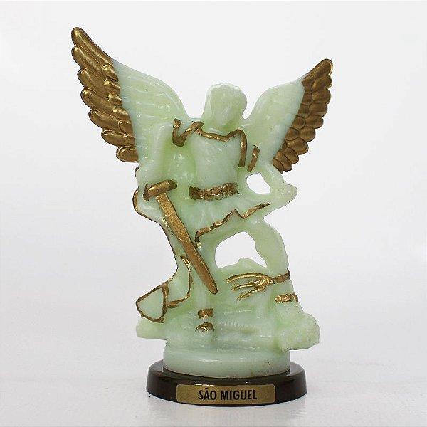 Imagem São Miguel fosforescente - base cor ouro velho - O Pacote com 3 peças - Ref.: 0577