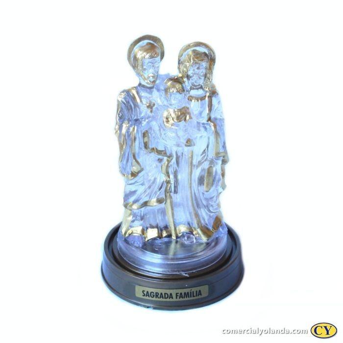 Sagrada Família em plastico com LED azul em base cor ouro velho - A Unidade - Ref.: 0591