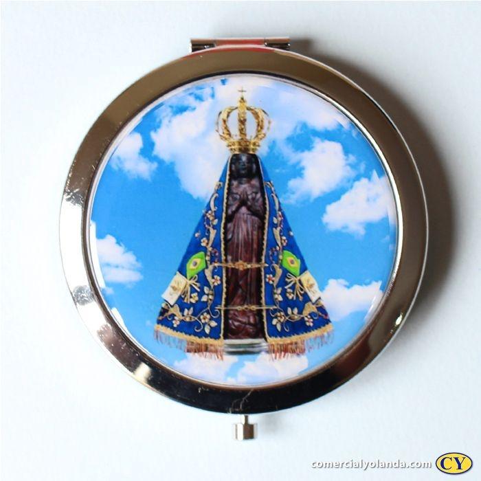 Espelho de mão com estampa de Nossa Senhora Aparecida - A Unidade - Cód.: 7219