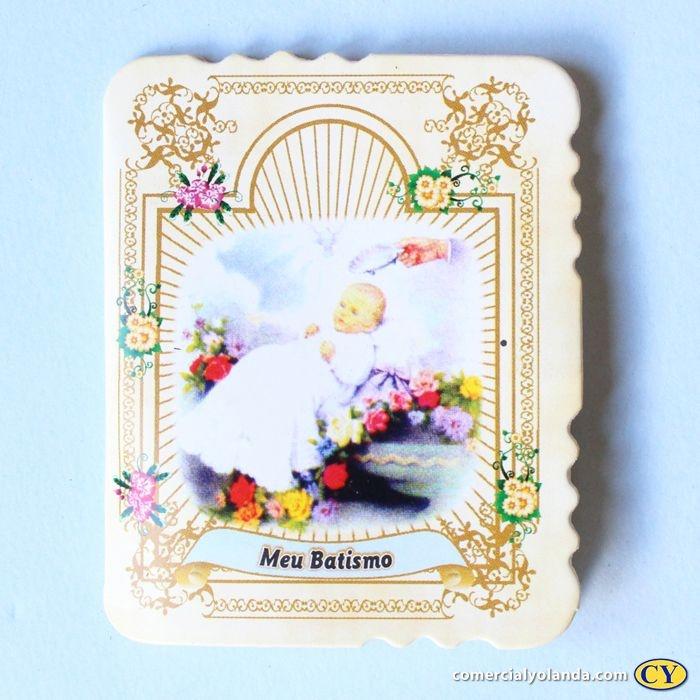 Cartão de Lembrança de Batismo com Terço - Pacote com 50 peças - Cód.: 1910
