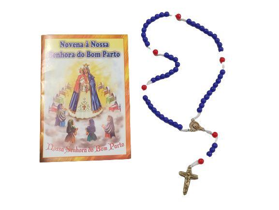 Terço com Folheto de Oração - Nossa Senhora do Bom Parto - A dúzia - Cód.: 6698