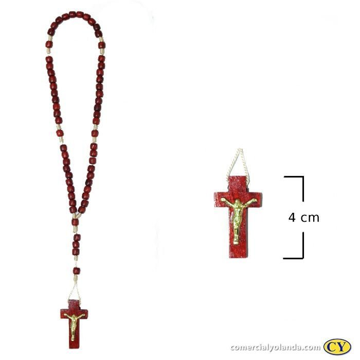 Terço em madeira vermelho, cruz com cristo - A Dúzia - Cód.: 1583