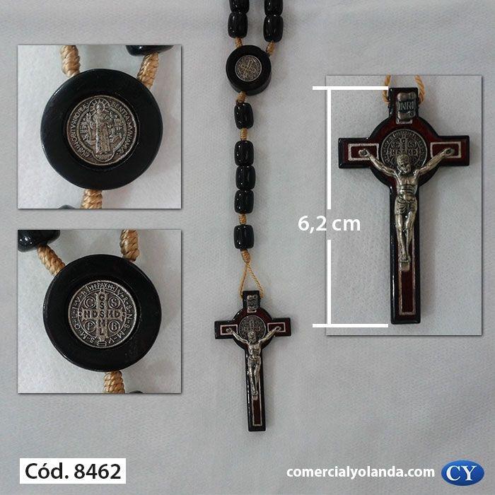 Terço de São Bento, com aplique de medalha no entremeio - Preto - O Pacote com 3 peças - Cód.: 8462