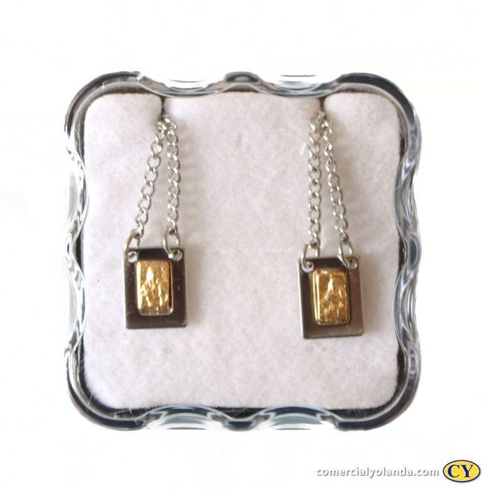 Escapulário pequeno em metal Sagrado Coração de Jesus e Nossa Senhora do Carmo - O Pacote com 6 unidades - Cód.: 0998