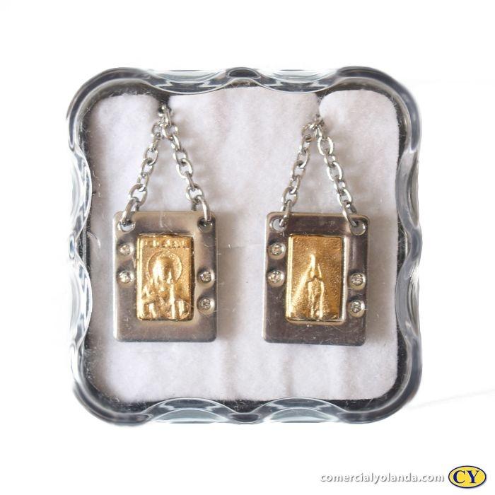 Escapulário em metal com centro dourado e strass, Sagrado Coração de Jesus e Nossa Senhora Aparecida - O pacote com 6 unidades - Cód.: 9027