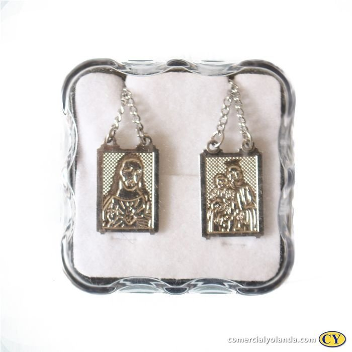 Escapulário em metal Sagrado Coração de Jesus e Nossa Senhora do Carmo - O Pacote com 6 unidades - Cód.: 8306