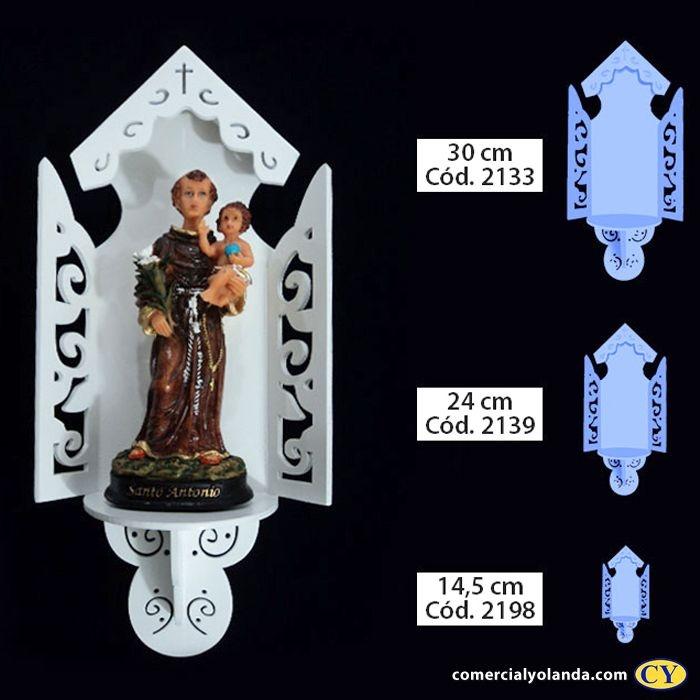 Oratório Aberto Luxo em madeira, Branco - Pacote com 3 peças - Cód.: 2133/2139/2198