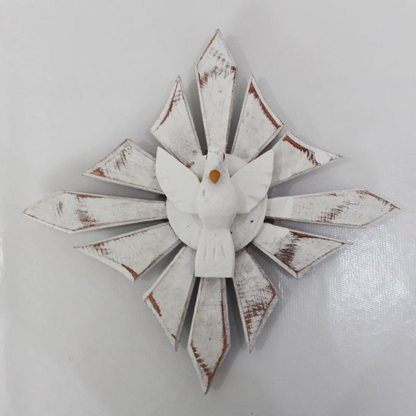 Divino Espirito Santo de parede em madeira pintada - O Pacote com 3 unidades - Cód.: 0690