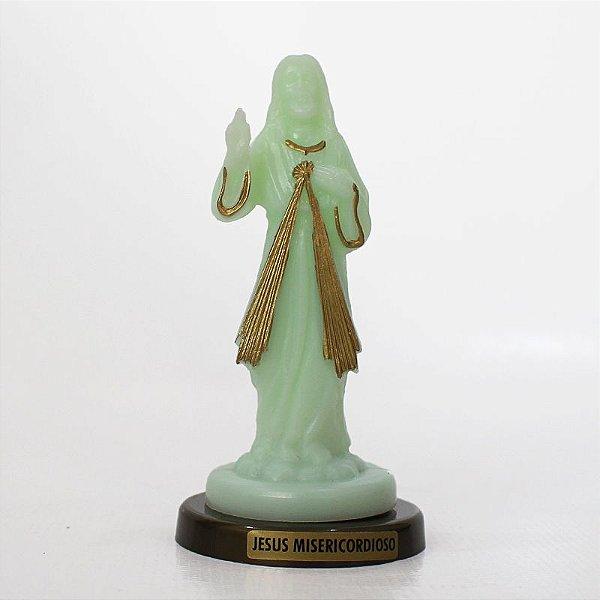 Imagem Jesus Misericordioso fosforescente base cor ouro velho - Pacote com 3 peças - Ref.: IB.02.050.111.104