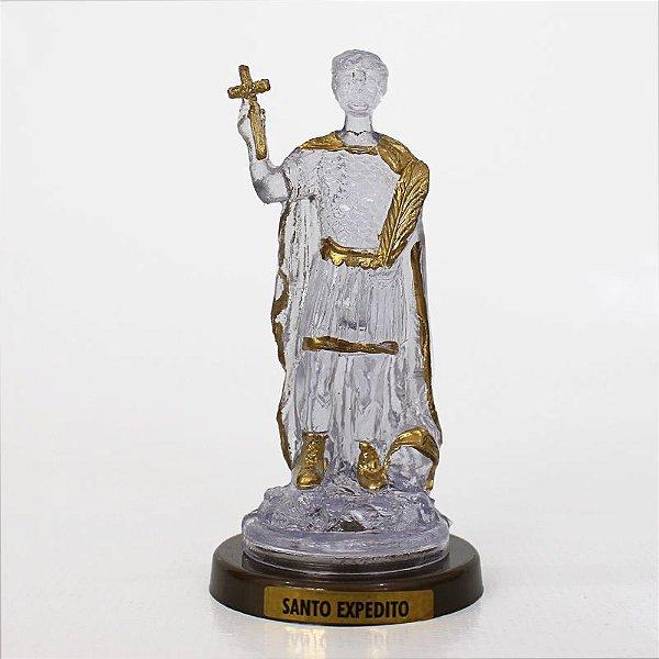 Santo Expedito em Plástico Transparente com Base Cor Ouro Velho - O Pacote com 3 peças - Ref.: IB.SE.65