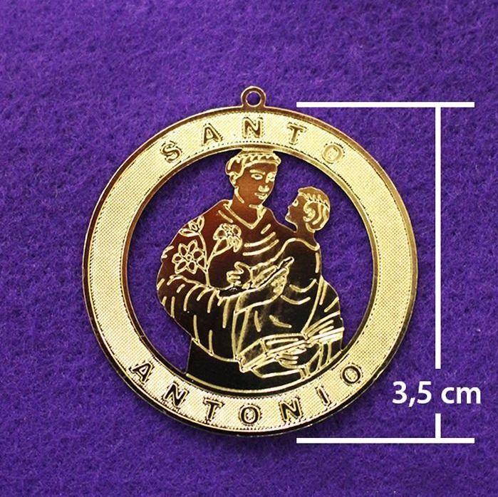 Medalha dourada de Santo Antonio - A Dúzia - Cód.: 0652