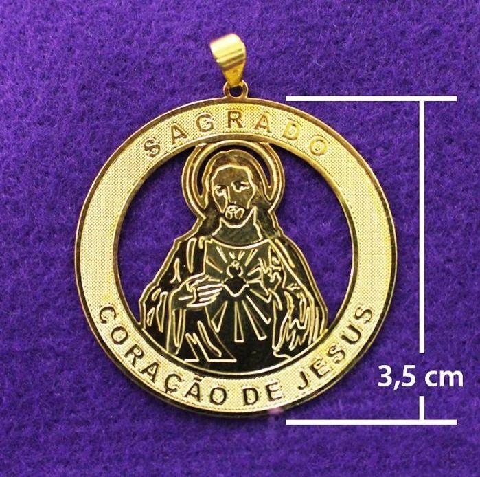 Medalha dourada de Sagrado Coração de Jesus - A Dúzia - Cód.: 0652