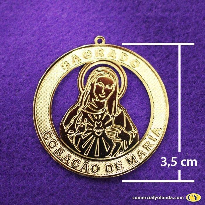 Medalha dourada de Sagrado Coração de Maria - pacote com 3 peças - Cód.: 0652
