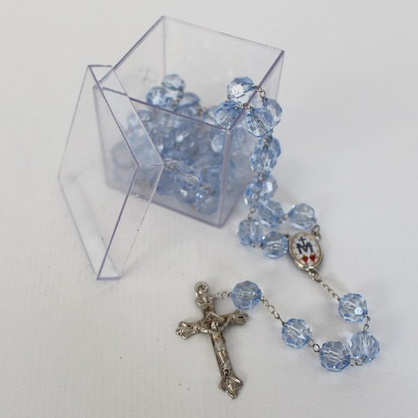 Terço de Nossa Senhora das Graças - Contas em Plástico Transparente 10 mm - Com caixa acrílica - Pacote com 3 peças - Cód.: 8611