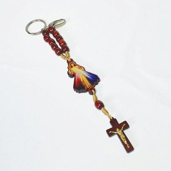 Chaveiro dezena em madeira Jesus Misericordioso - Pacote com 3 peças - Cód.: 2447