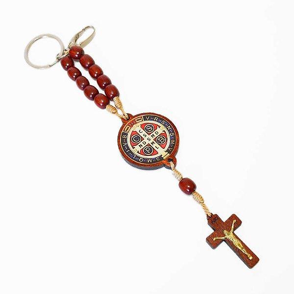 Chaveiro dezena em madeira Medalha de São Bento - Pacote com 3 peças - Cód.: 2447