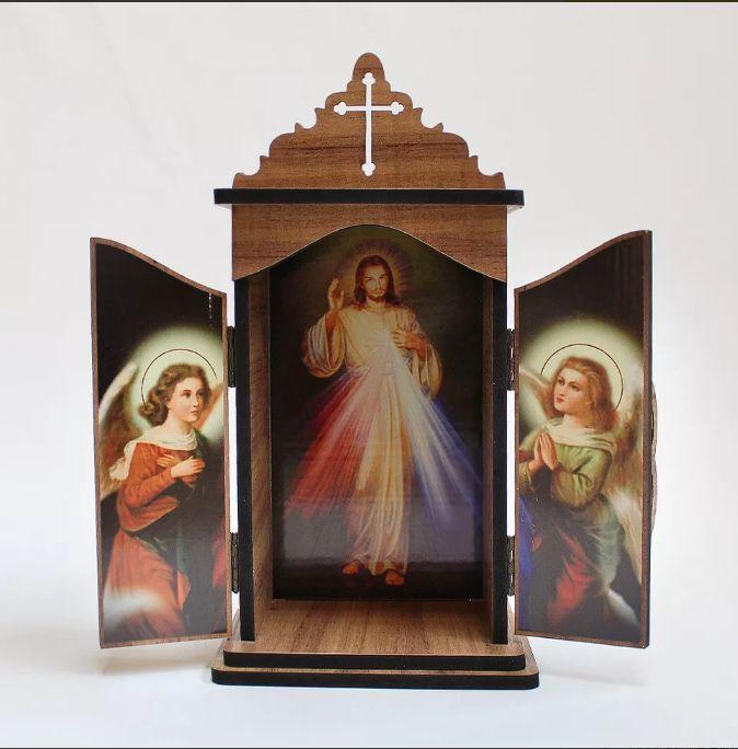 Oratório em madeira Jesus Misericordioso - A Unidade - Cód.: 3931