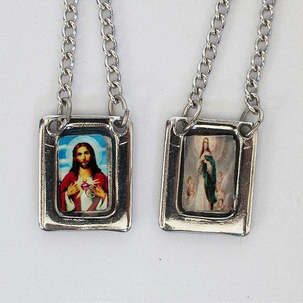 Escapulário com moldura e corrente em aço inox e foto colorida Sagrado Coração de Jesus e Nossa Senhora Imaculada Conceição -O Pacote com 6 unidades - Cód.: 8848