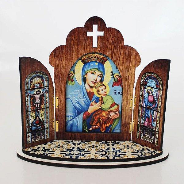 Capela modelo Portuguesa de Nossa Senhora do Perpétuo Socorro - O Pacote com 3 peças - Cód.: 6355
