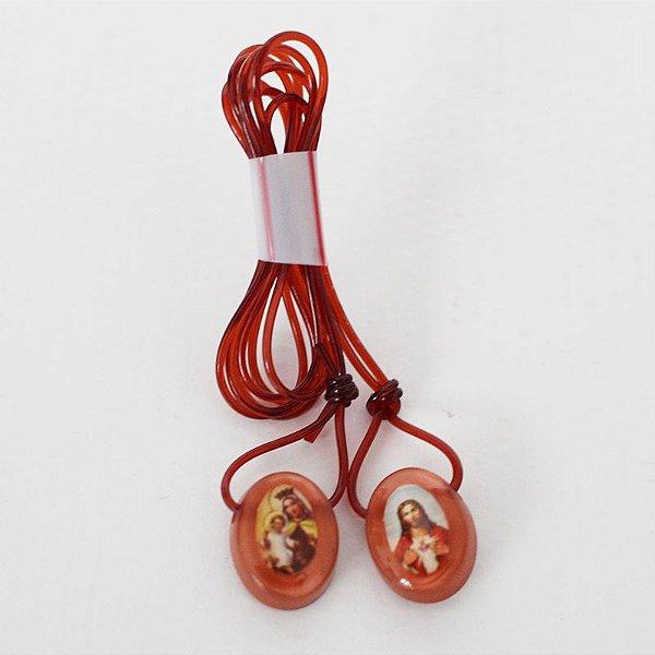 Escapulário, cordão de silicone, Sagrado Coração de Jesus e Nossa Senhora Aparecida - Marrom - A Dúzia - Cód.: 3447