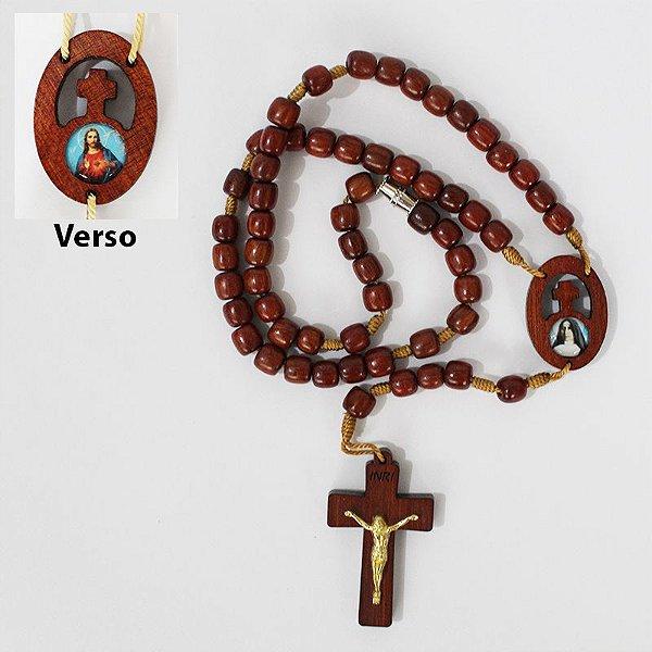 Terço em madeira de Madre Paulina e Sagrado Coração de Jesus - Com triângulo e fecho - A Dúzia - Cód.: 0824
