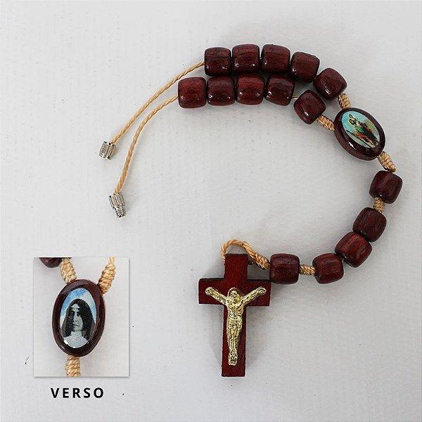 Dezena em madeira com entremeio resinado de São Cristóvão e Madre Paulina - A Dúzia - Cód.: 0881