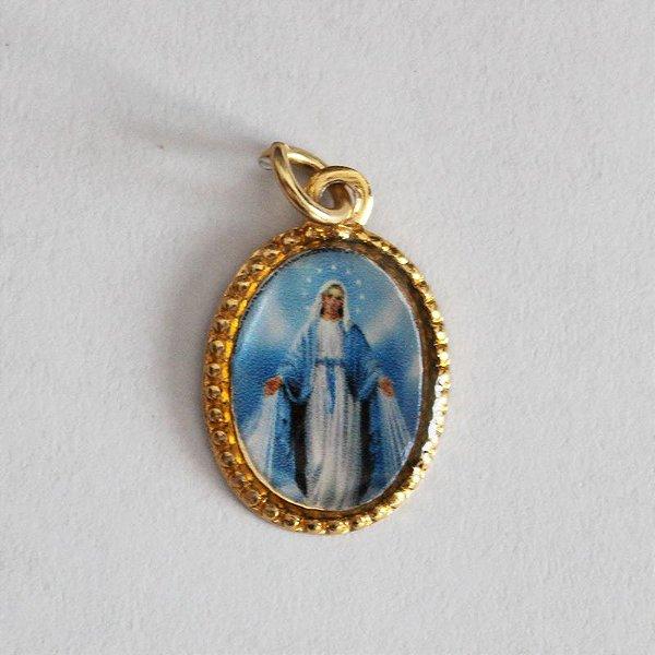 Medalha de Alumínio Resinada - Nossa Senhora das Graças - Pacote com 100 peças - Cód.: 447