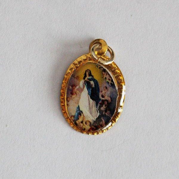 Medalha de Alumínio Resinada - Imaculada Conceição - Pacote com 100 peças - Cód.: 447