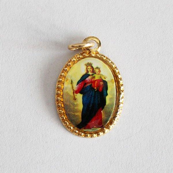 Medalha de Alumínio Resinada - Nossa Senhora Auxiliadora - Pacote com 100 peças - Cód.: 447